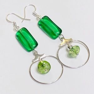 Gorgeous Green Czech Glass & Quartz Hoop Earrings